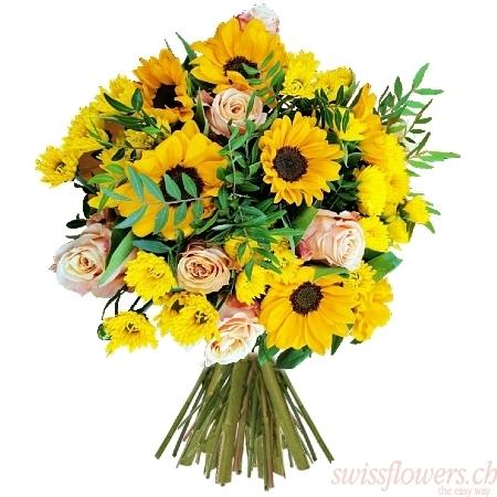 Sunflowers Roses Chrysanthemum